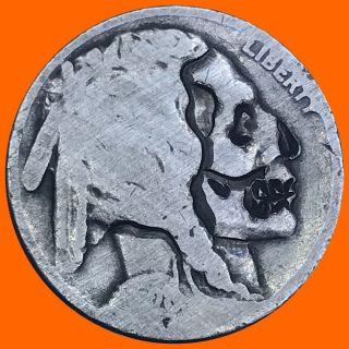 Hobo Nickel Coin Art Skull 87 photo