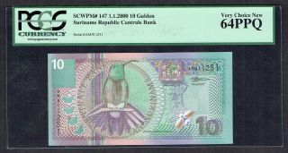 Suriname 10 Gulden 2000 Unc/unc - Pcgs 64ppq Very Choice P147 photo