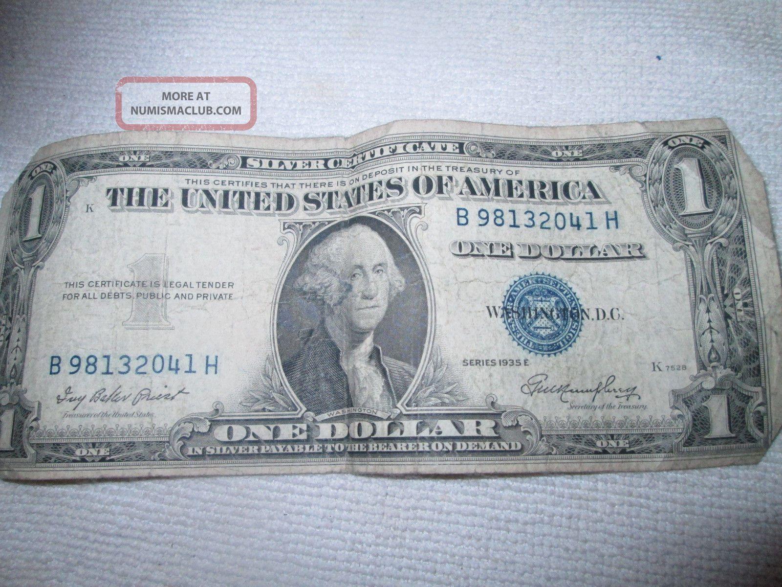 Vintage 1 1935e Silver Certificate One Dollars Old Money Washington