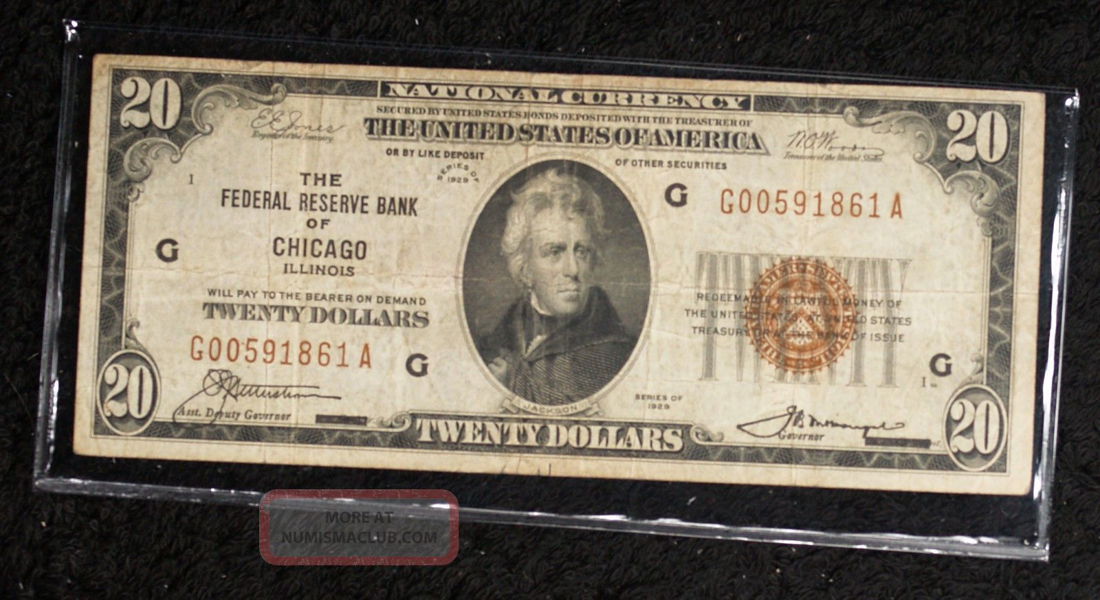 1929 $20 Federal Reserve Bank Of Chicago Note Small Size Notes photo