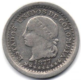 Colombia,  5 Centavos 1877 Bogota photo