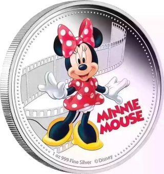 Minnie Mouse 2017 - D Isney Mickey & Friends 1 Oz Silver Coin 037 photo
