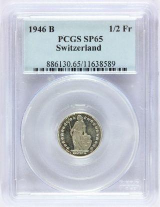 1946 - B Switzerland 1/2 Half Franc Silver Specimen Coin - Pcgs Sp 65 - Km 23 photo