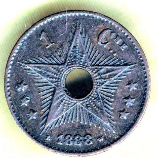 Congo State - 1 Centime 1888 Km 1, photo
