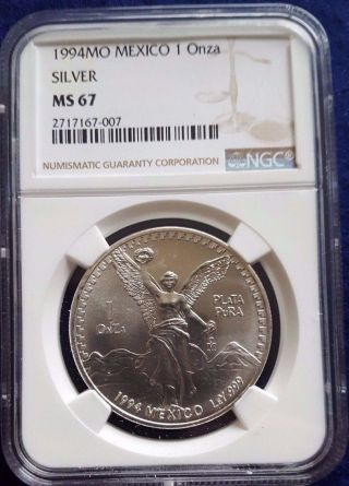 1994 Mexico Libertad 1 Oz.  999 Silver Ngc Ms 67 photo