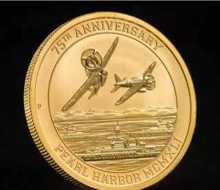 2016 - P $15 Pearl Harbor Perth 1/10 Oz.  9999 Gold Coin 75th Anniversary 137n photo