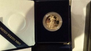 1986 W Us $50 (1 Oz) Proof Gold American Eagle (age) W/box & photo
