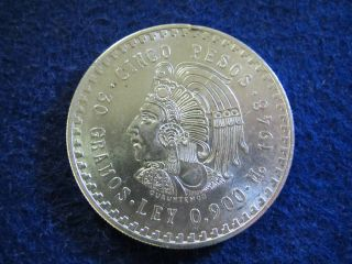 1948 Mexico Silver 5 Pesos - Cuauhtemoc - Bright Au/bu - U S photo