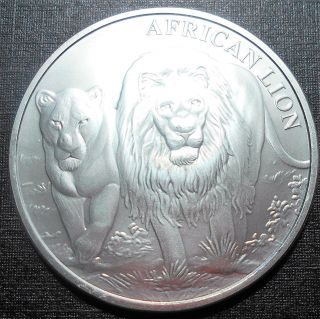 . 999 Silver 2016 1 Oz Republic Congo 5000 Franc African Lion Bu Low Minatge photo