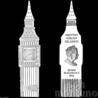 2016 Big Ben Clock Shaped 1 Dollar Coin Copper Nickel Silver Uk Eu Brexit London photo