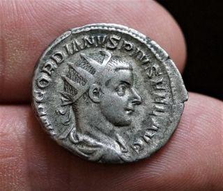 Gordian Iii - Hercules - Virtvti Avgvsti.  Roman Silver Antoninianus photo
