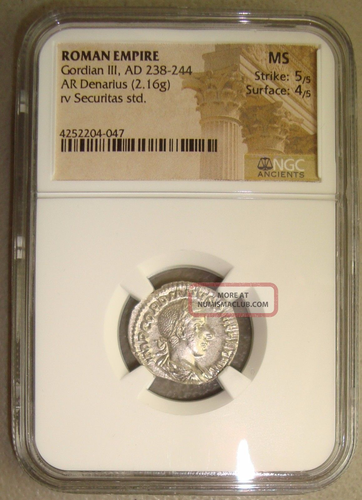 Ad 238 - 244 Gordian Iii Ancient Roman Silver Denarius Ngc Ms (state) 5/5 4/5 Coins: Ancient photo