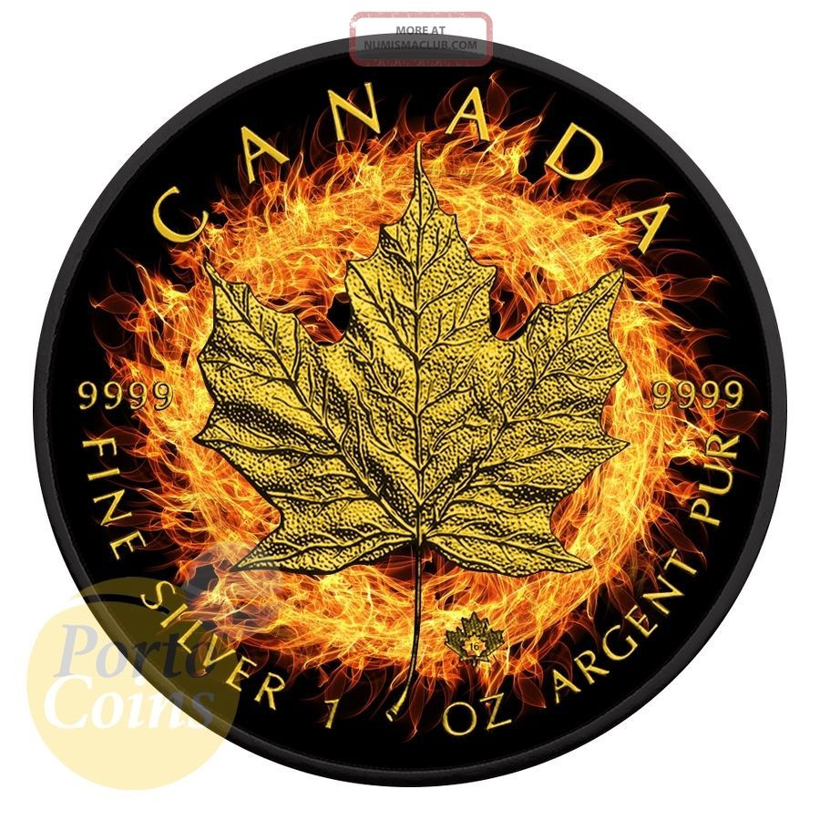 2016 Canada $5 Burning Maple Leaf Fire Black Ruthenium Gold 1 Oz Silver Coin Coins: Canada photo