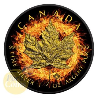 2016 Canada $5 Burning Maple Leaf Fire Black Ruthenium Gold 1 Oz Silver Coin photo