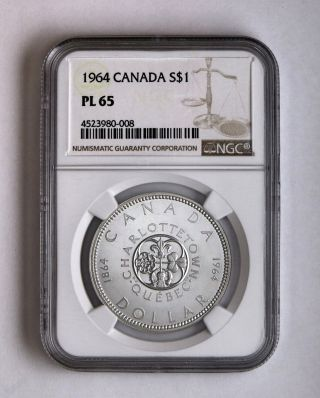 1964 S$1 Canada Silver Dollar Ngc Pl 65 photo