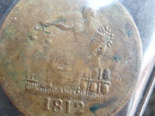 Lower Canada 1812 Imitation Tiffin 1/2 Penny Token Lc - 48c2 I.  C.  C.  S.  Ef - 40 No Res photo