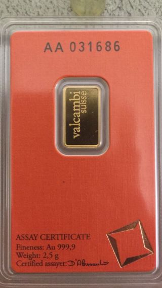 $$valcambi Suisse 2.  5g.  Gold Bar Aa031686.  9999 Conditioni photo