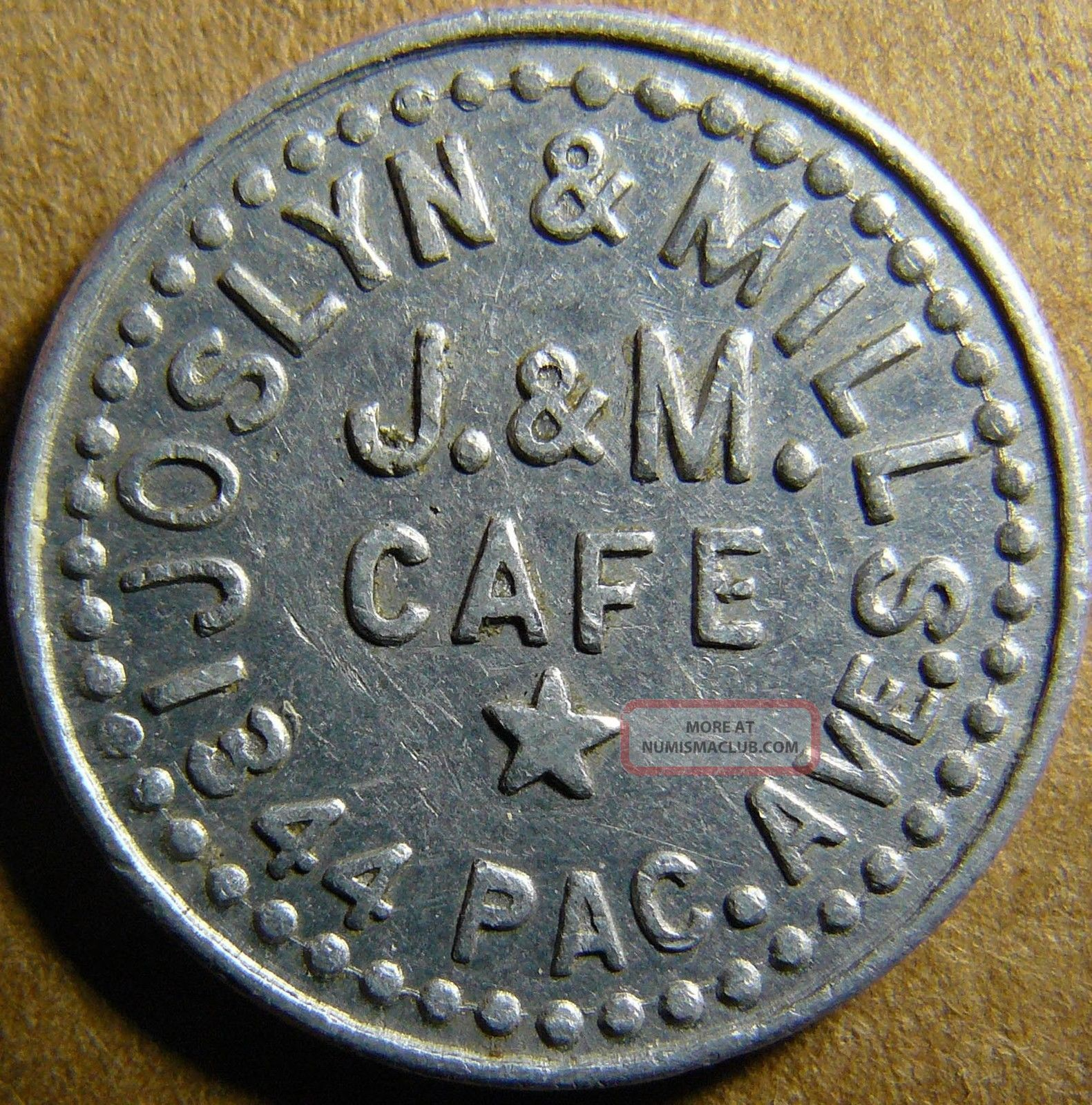 Tacoma Washington Joslyn & Mills J & M Cafe 10c Good For Token Exonumia photo