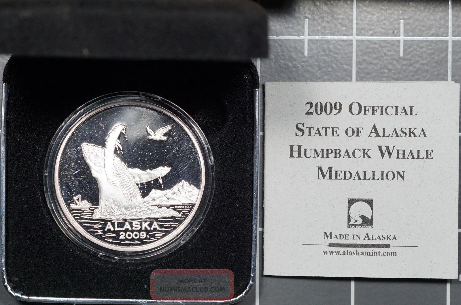 2009 Alaska 1 Oz 0.  999 Fine Silver Humpback Whale Medallion Exonumia photo