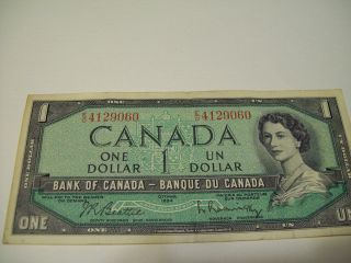 1954 Canada One $1.  00 Bill.  Canadian 1954 Dollar Bill.  Estate. photo