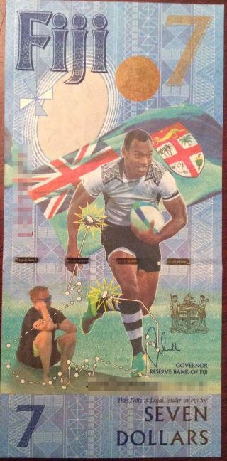 2017 Fiji $7 Seven Dollars Rugby Commemorative Banknote Unc - Release photo