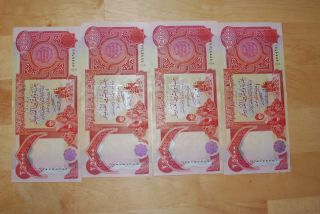 100000 Iraqi Dinars Uncirculated & Crisp 4x25000 Iqd Iraq Currency Dinar Cbi photo