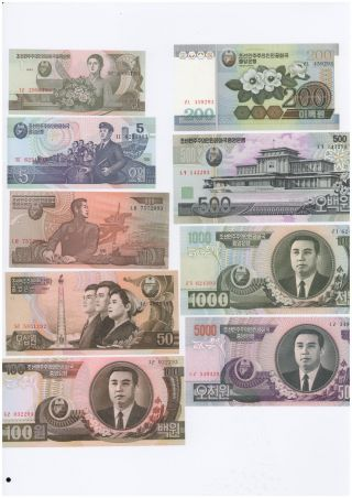 Korea,  (1、5、10、50、100、200、500、1000、5000)won,  Paper Money,  1992 - 2007,  Unc photo