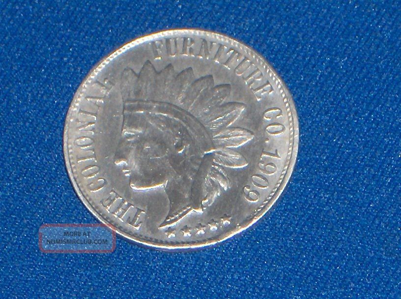 1909 Colonial Furniture Co.  Cleveland Ohio Indian Head One Dollar Trade Token Exonumia photo