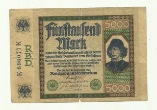 Germany 5.  000 Mark 1922 K 696077 K Circulated Banknote photo