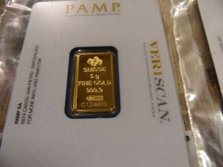 Unopend Pamp 5 Gram Gold Fortuna Bar.  9999 Won ' T Last photo