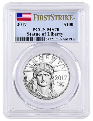 2017 $100 1 Oz.  American Platinum Eagle Pcgs Ms70 First Strike Sku45307 photo