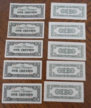 Ww 2 Occupation Japanese Centavos 10 One Centavo Bills photo