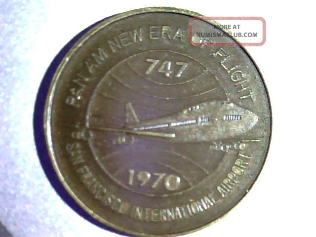 Pan Am 1970 San Bruno,  California,  747 Inaugeral Flight,  Bronze Exonumia photo