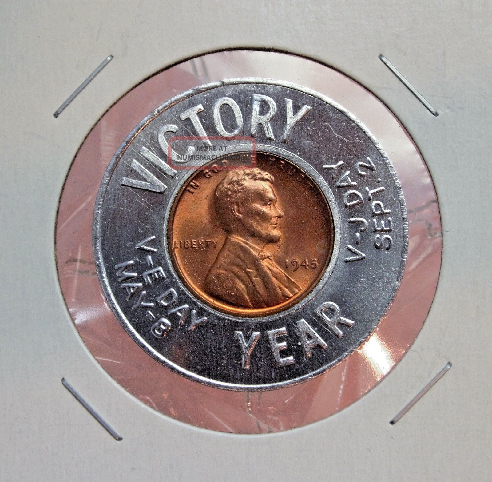 Victory Year V - E Day / V - J Day 1945 - P (uncirculated) Encased Wheat Cent.  12565 Exonumia photo