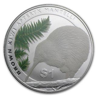 Zealand 2015 North Island Brown Kiwi,  1 Oz Silver Coin Rare photo