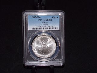 1993 - Mo Pcgs Ms68 1 Onza.  999 Silver Libertad Pop 29 Blast White photo