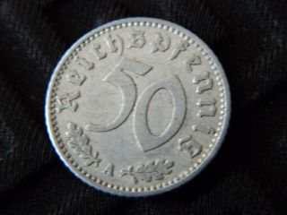50 Reichspfennig 1940a Nazi Germany Coin With Swastika - Km 96 - (4709) photo