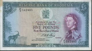 Rhodesia £5 1964 P26a photo