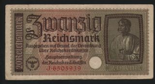 Germany 20 Reichsmark 1940 - 1945 Occupied Terr.  - Series: J 6505939 -