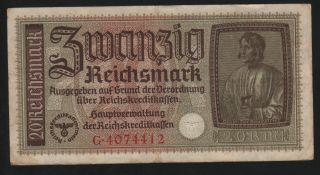 Germany 20 Reichsmark 1940 - 1945 Occupied Terr.  - Series: G 4074412 -