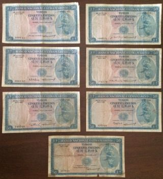 1967 Timor 50 Escudos 7 Different Signatures Pick 27 Look Scans photo