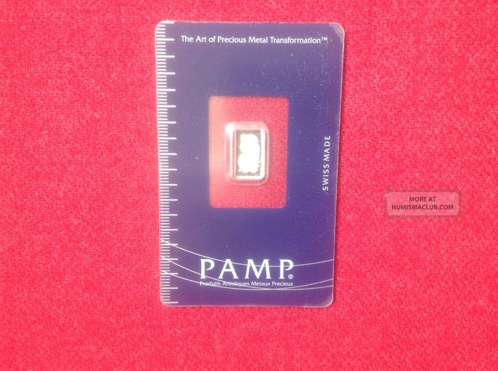 1 Gram Platinum Bar - Pamp Suisse - Fortuna - 999.  5 Fine In Assay Platinum photo