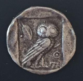 Ancient Greek Roman Silver Trade Coin,  Didrachm - Athens Owl - Athena 465 Bc photo