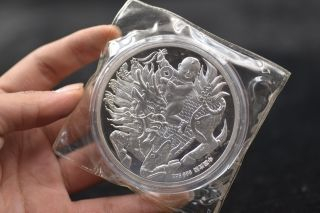 99.  99 China 1992 Year 5oz Silver Coin Shanghai - Kirin Songzi photo