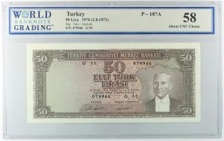 Turkey 1970 (1971),  50 Lira,  P187a Aunc (dd639a) photo