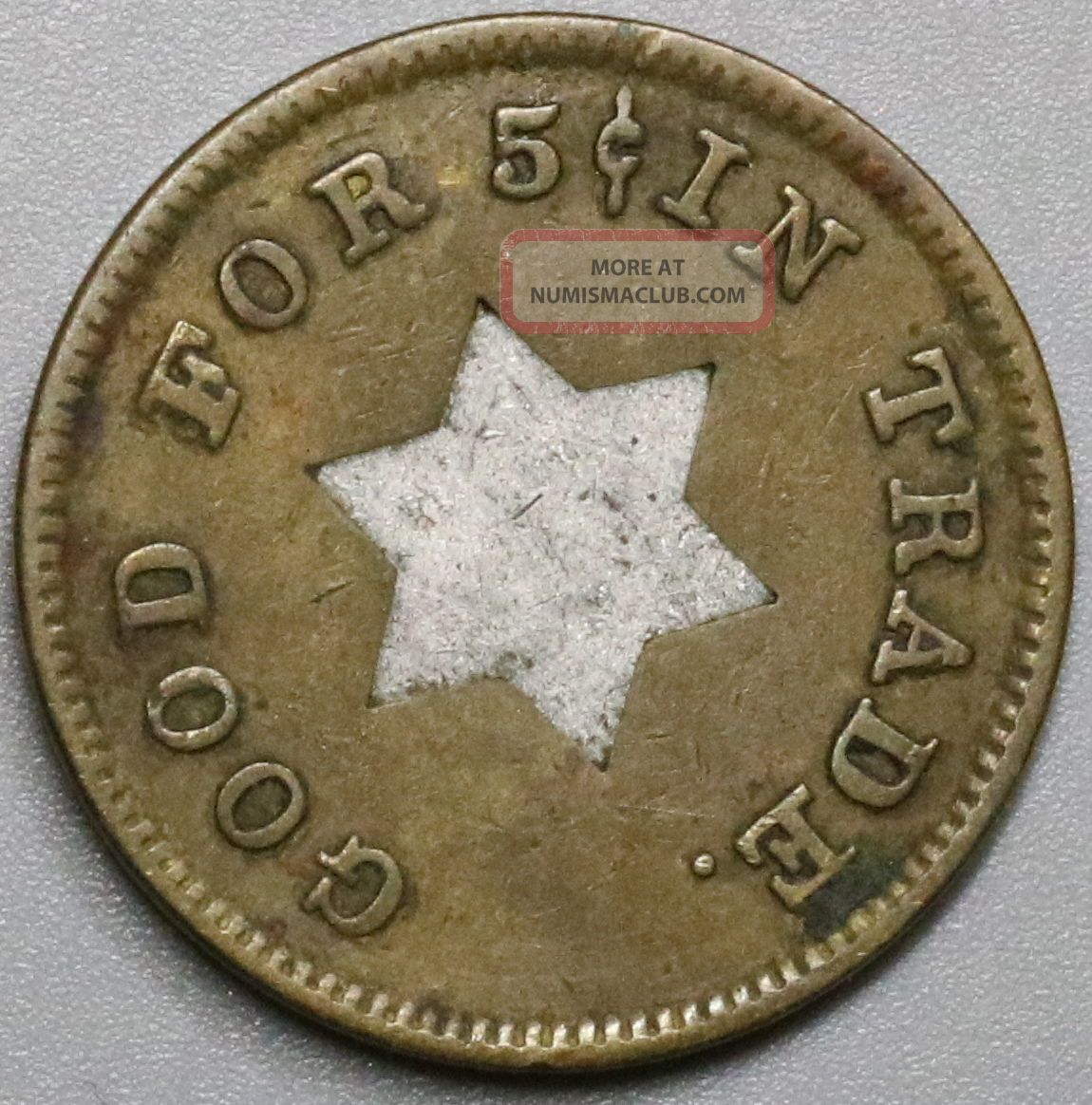 1940s Star Bimetallic Good For 5 Cents Token (17041134r) Exonumia photo