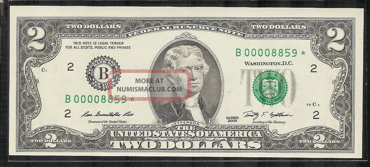 2009 2$ Dollar Star Note Frb B York Seri Low Number B00008859 Unc - Rare Small Size Notes photo