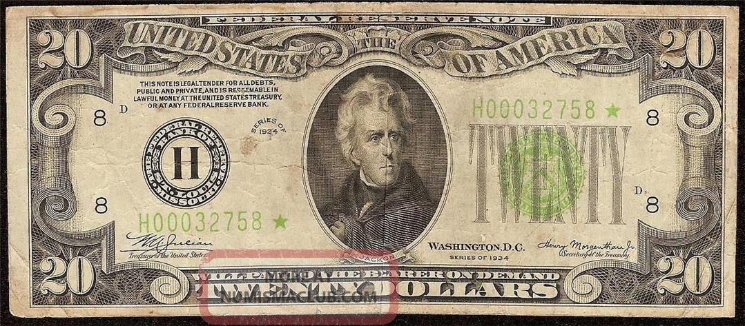 1934 $20 Bill Low Lgs Star Light Green Seal Note Currency Paper Money Fr 2054 - H Small Size Notes photo