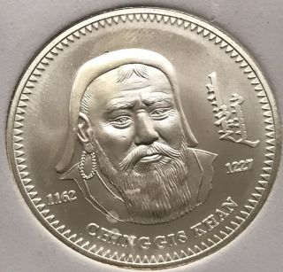 2002 Mongolia Genghis Khan 1000 Togrog Chinggis Khan 1 Oz.  925 Silver Coin photo
