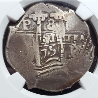 Bolivia Spanish Colonial 1675 P E 8 Real Silver Cob Wide Flan Vf 30 Ngc photo